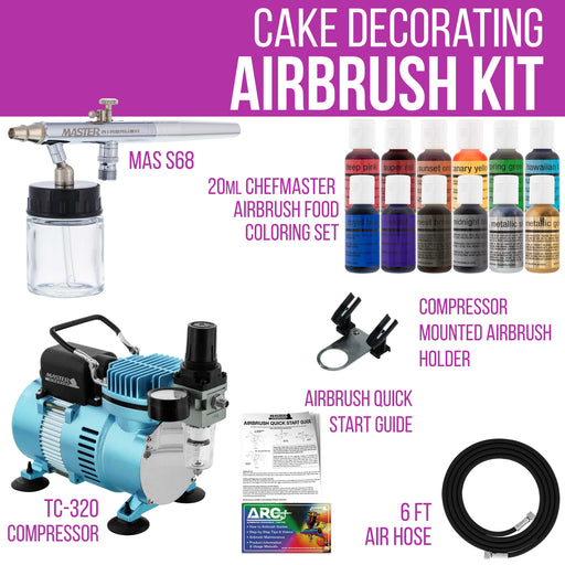 Cake Decorating Airbrushing System Kit with a Siphon Feed Airbrush, 12 Chefmaster Food Colors, Dual Fan Air Compressor - Hose, Holder, How To Guide
