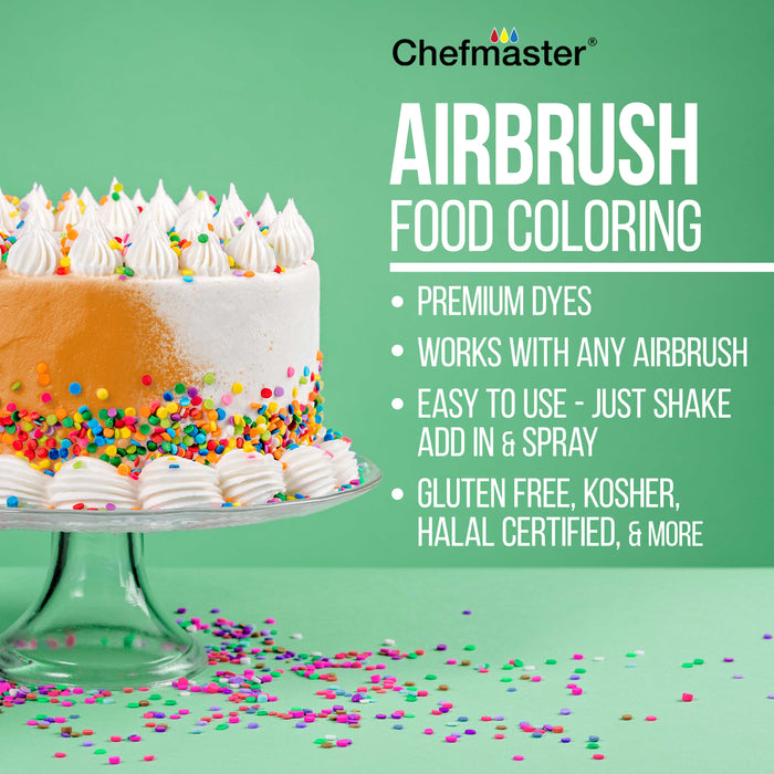 Cake Decorating 3 Airbrush Kit with G22, S68, E91 Airbrushes, Quiet High Performance Compact Airbrush Compressor, 2 Hoses & 12 Color Food Coloring Set