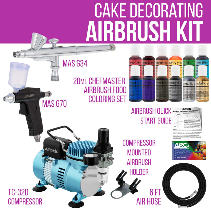 Super Deluxe Master Airbrush Cake Decorating Airbrushing System Kit With 2 Gravity Feed Airbrushes Set Of 12 Chefmaster Food Colors Cool Runner Ii