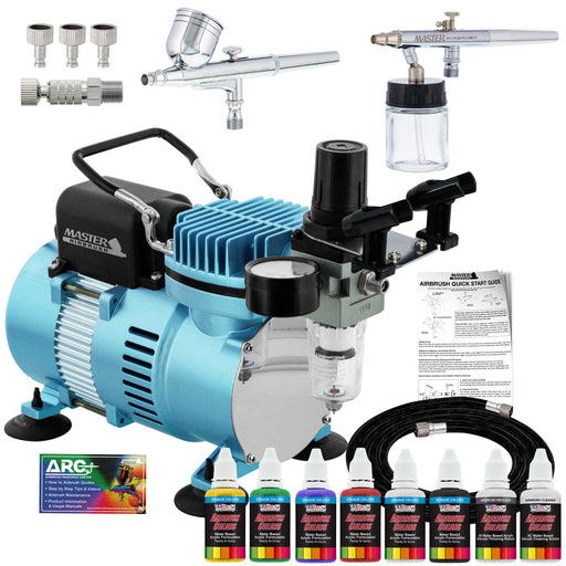 Cool Runner II Dual Fan Air Compressor Airbrushing System Kit with 2 Airbrushes - 6 Primary Colors Acrylic Paint Artist Set - How To Guide