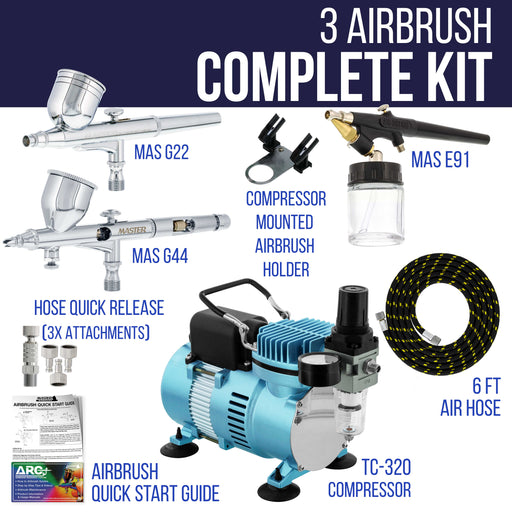 Cool Runner II Dual Fan Air Compressor Fine Detail Control System with 3 Airbrushes, 0.2, 0.3mm Gravity and Siphon Feed - Hose, How-To Guide