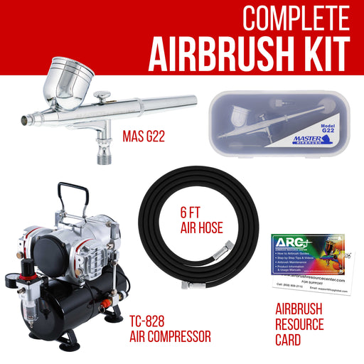 Multi-Purpose Precision Dual-Action Gravity Feed Airbrush with Model TC-828 Twin Piston Air Compressor with Air Storage Tank