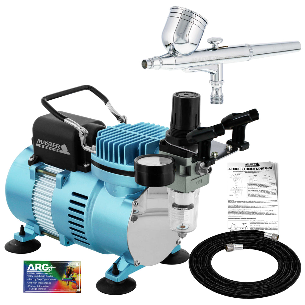 Cool Runner II Dual Fan Air Compressor System Kit with a G22 Gravity Feed Dual-Action Airbrush Set with 0.3 mm Tip - Hose, Holder, How-To Guide