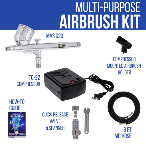 Airbrushing System Kit with a G23 Multi-Purpose Gravity Feed Dual-Action Airbrush with Cup and 0.3mm Tip , Mini Air Compressor, How-To-Airbrush Guide