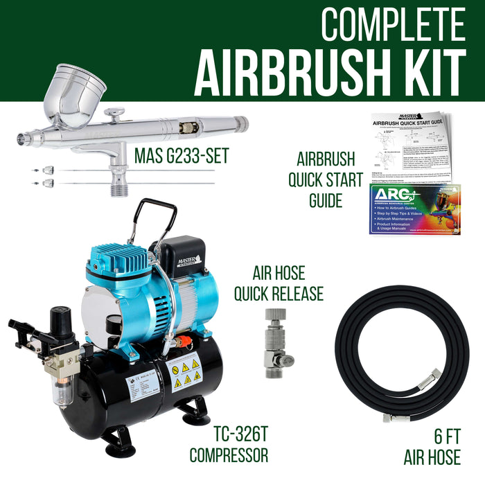 Master Performance G233 Airbrush Kit with Master Compressor TC-20T & Air Hose