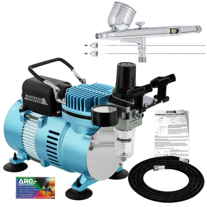 Cool Runner II Dual Fan Air Compressor System Kit with a G233 Gravity Feed Dual-Action Airbrush, 0.2, 0.3, 0.5 mm Tips - Hose, Holder, How-To Guide