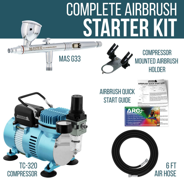 HI-FLOW All-Purpose Precision Dual-Action Gravity Feed Airbrush Set with High Performance Airbrush Air Compressor