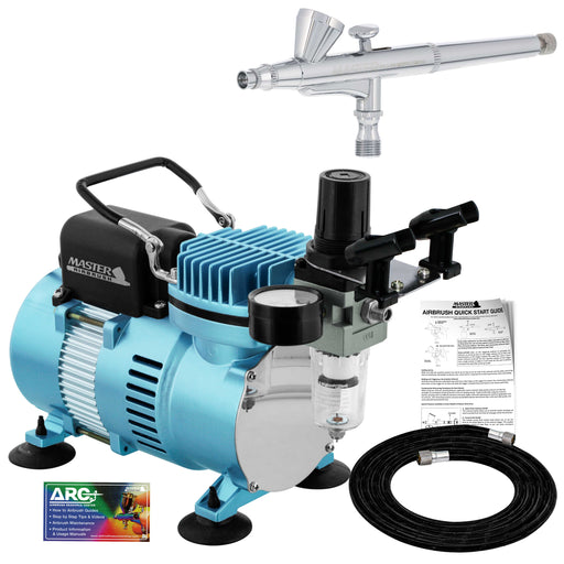 Cool Runner II Dual Fan Air Compressor System Kit with a Gravity Feed Dual-Action Airbrush Set with 0.3 mm Tip - Holder, How-To Guide