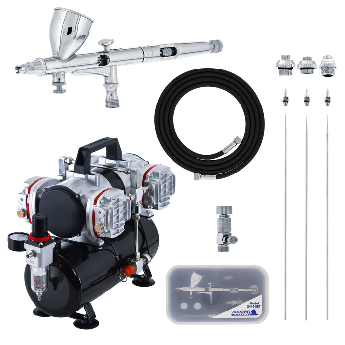 High Precision Detail Control Dual-Action Gravity Feed G444 Airbrush Kit with 3 Tip Sizes and a 4 Cylinder Piston Air Compressor & Air Hose