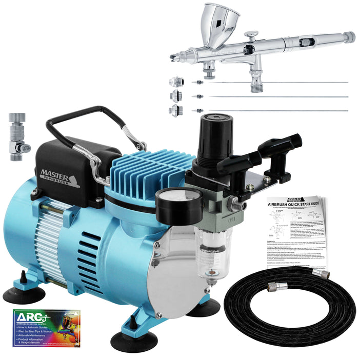 Master Airbrush Cool Runner II Dual Fan Air Compressor System Kit with a G444 Fine Detail Control Gravity Feed Dual-Action Airbrush Pro Set with 0.2, 0.3, 0.5 mm Tips, How-To Guide - Hobby, Auto, Cake