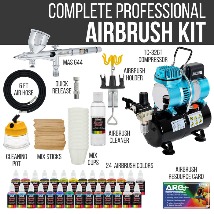 Cool Runner II Dual Fan Air Storage Tank Compressor System Kit with Fine Detail Control 0.2mm Tip Airbrush, 24 Color Acrylic Paint Set, How-To Guide