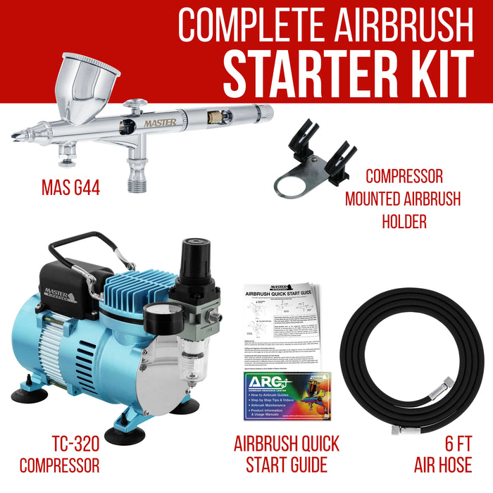 Cool Runner II Dual Fan Air Compressor System with a Fine Detail Control Gravity Feed Dual-Action Airbrush Set with 0.2mm Tip - Hose, How-To Guide