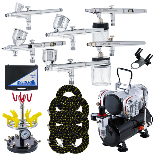 6 Master Model G22, G34 & G44 Gravity Feed, S62 & S68 Siphon Feed, S68 Side Feed Airbrushes with Twin Piston Air Compressor with Storage Tank