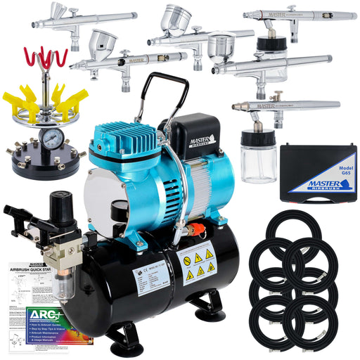 6 Master Model G22, G34 & G44 Gravity Feed, S62 & S68 Siphon Feed, S68 Side Feed Airbrushes with Air Compressor with Air Storage Tank