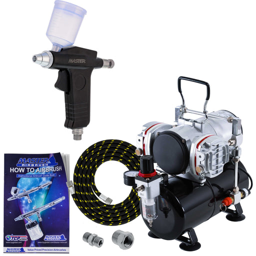 Precision Trigger Style Gravity Feed Airbrush Set with Twin Cylinder Piston Airbrush Compressor with Air Storage Tank