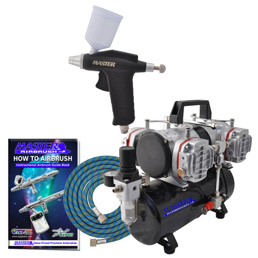 Trigger Style Gravity Feed G70 Airbrush Set with Model TC-848 4 Cylinder Piston Air Compressor with Air Storage Tank
