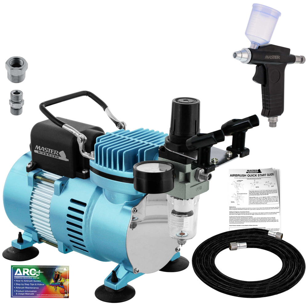 Dual-Action Trigger Style Gravity Airbush with Cool Runner II Dual Fan Air Compressor System and Hose