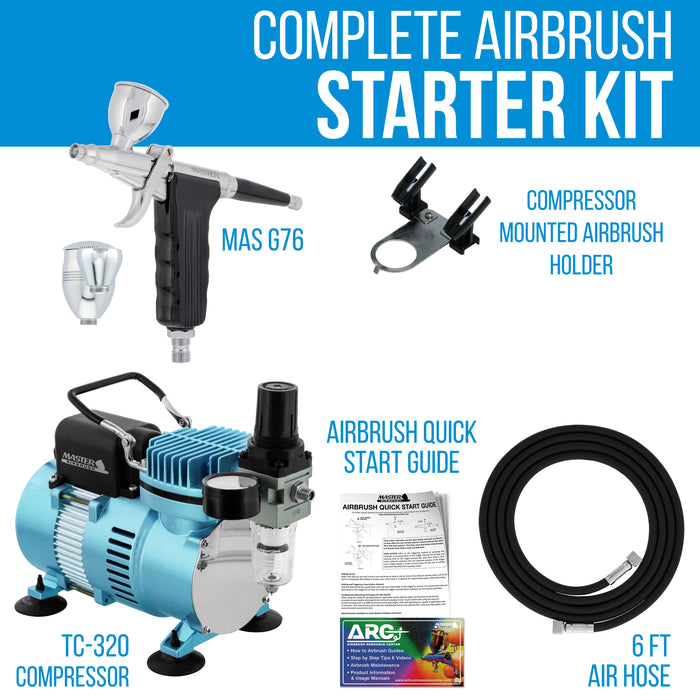 Master Performance G76 Airbrush Kit with Master Compressor TC-20 & Air Hose