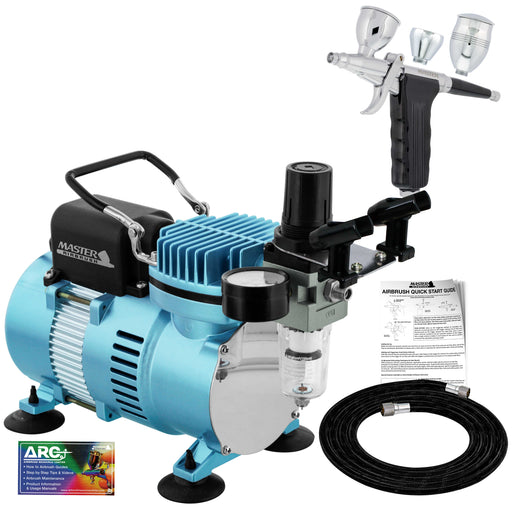 Deluxe Dual-Action Trigger Style Gravity Airbush with Cool Runner II Dual Fan Air Compressor System and Hose