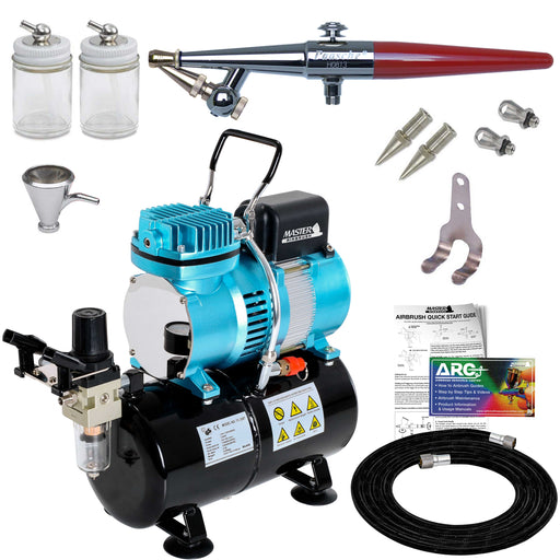 Paasche H-SET Series Single-Action Siphon Feed Airbrush Kit with a Master Cool Runner II Air Compressor with Air Tank & Air Hose