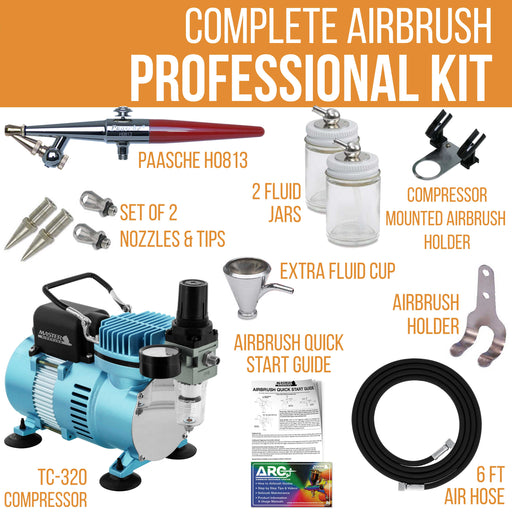 Paasche H Airbrush Set with a Cool Runner II Dual Fan Air Compressor System Kit, All 3 Head Sizes (1, 3 & 5), Hose, Holder, How-To Guide