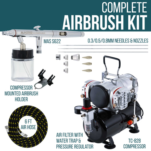 HI-FLOW All-Purpose Precision Dual-Action Siphon Feed Airbrush Set with Twin Cylinder Piston Airbrush Compressor with Air Storage Tank