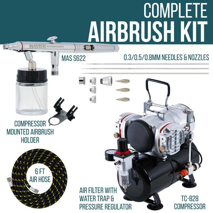 Master Hi-Flow S622 Airbrush Kit with Master Compressor TC-828 & Air Hose