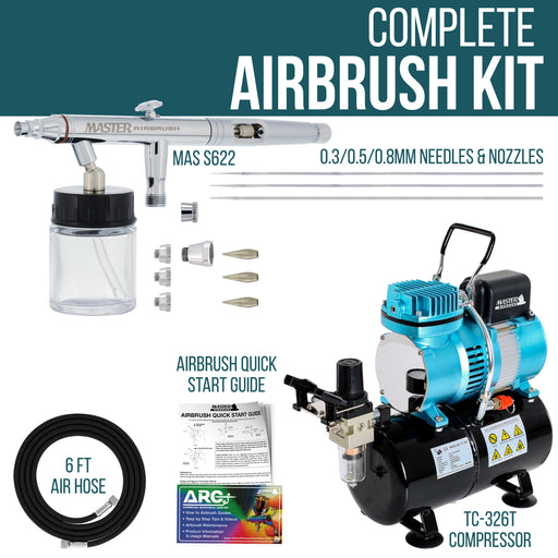 HI-FLOW All-Purpose Precision Dual-Action Siphon Feed Airbrush Set with Airbrush Air Compressor with Air Storage Tank