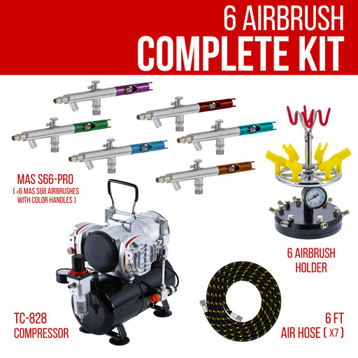 6 Master Performance Multi-Purpose Precision Dual-Action Siphon Feed Airbrushes with Twin Cylinder Piston Airbrush Compressor with Air Storage Tank