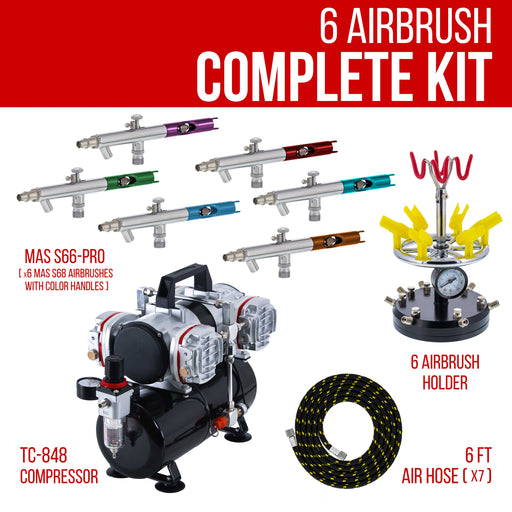 6 Master Performance Model S58 Multi-Purpose Precision Dual-Action Siphon Feed Airbrushes with 4 Cylinder Piston Air Compressor with Air Storage Tank