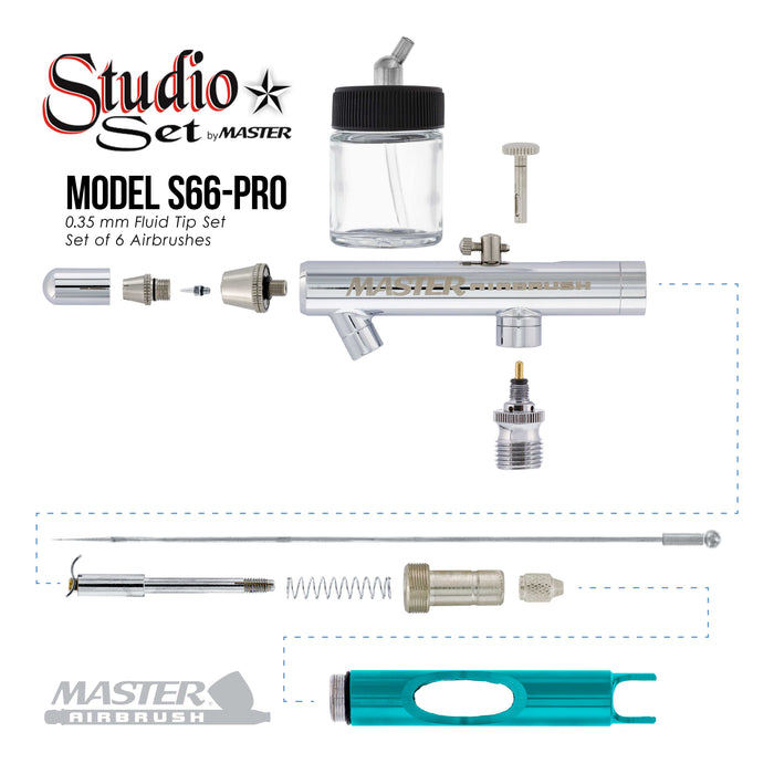 Master Studio Series S66 Airbrush Kit with Master Compressor TC-848 & Air Hose