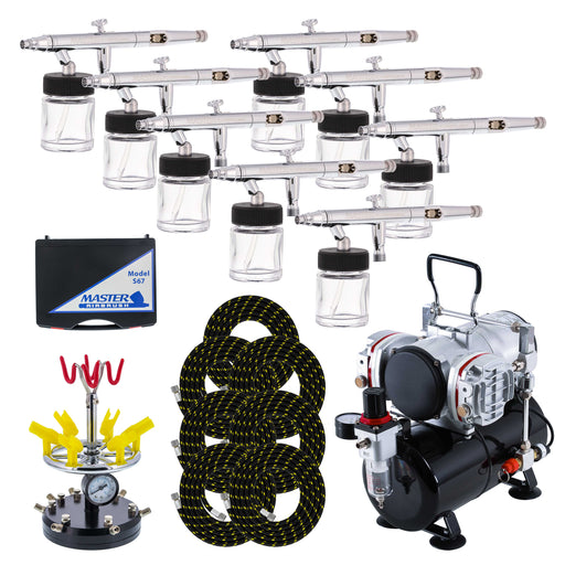 8 HI-FLOW All-Purpose Precision Dual-Action Siphon Feed Airbrushes with Twin Cylinder Piston Airbrush Compressor with Air Storage Tank