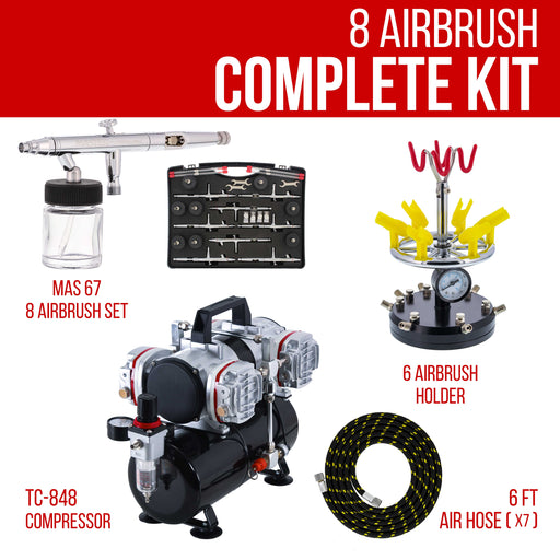 8 HI-FLOW All-Purpose Precision Dual-Action Siphon Feed Airbrushing System with Model TC-848 4 Cylinder Piston Air Compressor with Air Storage Tank