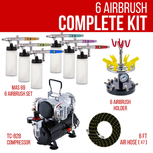 6 HI-FLOW All-Purpose Precision Dual-Action Siphon Feed Airbrushes with Twin Cylinder Piston Airbrush Compressor with Air Storage Tank