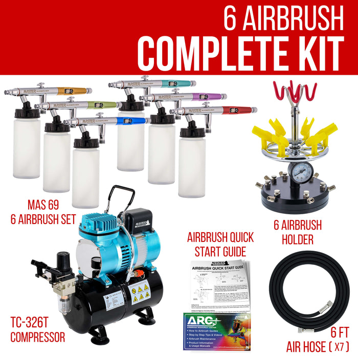 6 HI-FLOW All-Purpose Precision Dual-Action Siphon Feed Airbrushes with High Performance Airbrush Air Compressor with Air Storage Tank