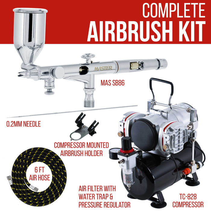 High Precision Detail Control Dual-Action Side Feed Airbrush Set with Twin Cylinder Piston Airbrush Compressor with Air Storage Tank