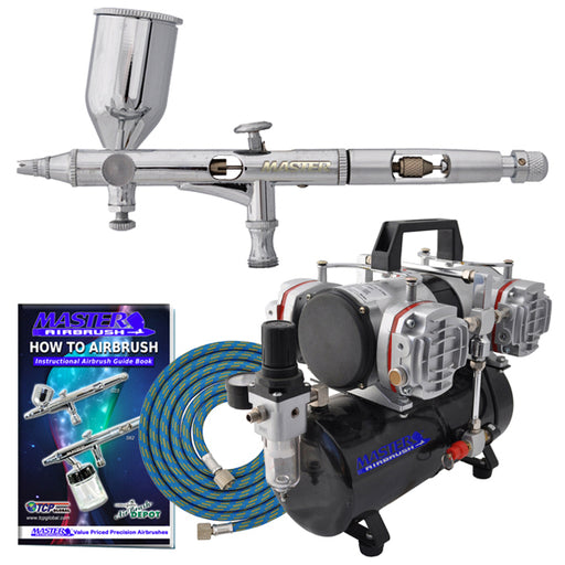 High Precision Detail Control Dual-Action Side Feed Airbrush Set with 4 Cylinder Piston Airbrush Compressor with Air Storage Tank