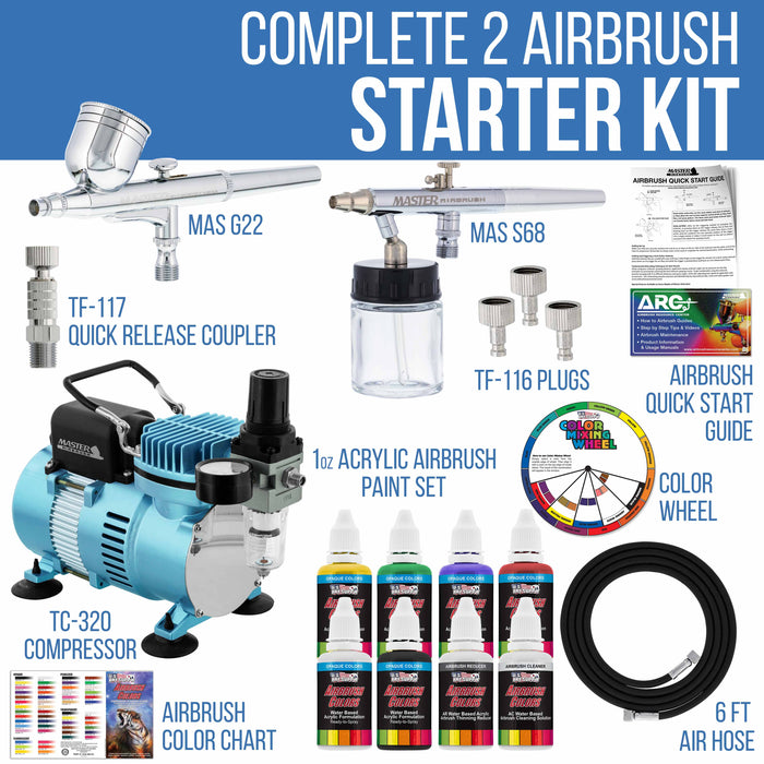 Cool Runner II Dual Fan Air Compressor Airbrushing Acrylic Paint System Kit with 2 Airbrushes, Hose - 6 Primary Paint Colors Set - How To Guide
