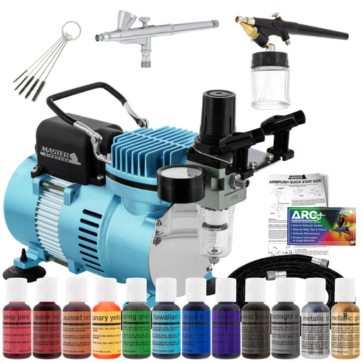 Cake Decorating 2 Airbrushing System Kit with 12 Color Food Coloring Set, Pro Cool Runner II Dual Fan Air Compressor - How To Guide