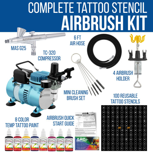 Cool Runner II Dual Fan Air Compressor Custom Body Art System with Gravity Feed Airbrush, 8 Color Temp Tattoo Paint Set, 100 Stencils