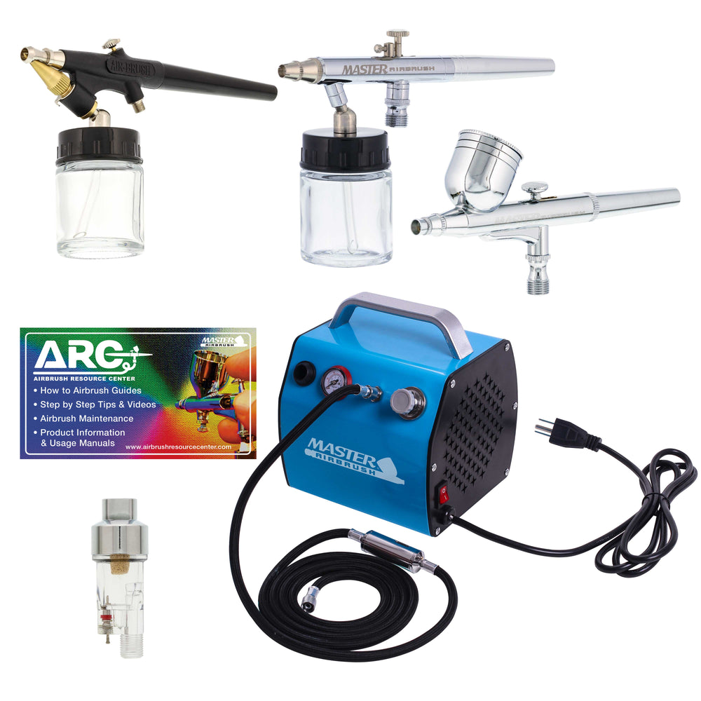 3 Multi-Purpose Master Airbrush Kit with High Performance Compact Airbrush Compressor