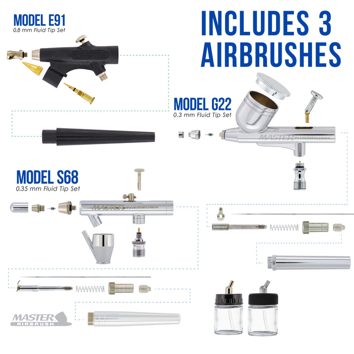 3 Master Airbrush Professional Multi-Purpose Airbrushing System Kit - Hose, Air Compressor, Universal Airbrush Holder - How-To-Airbrush Guide Booklet