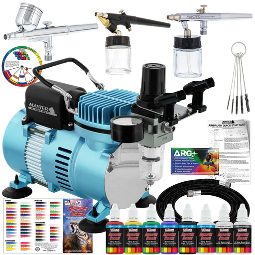 Professional Cool Runner II Dual Fan Air Compressor, 3 Airbrush System Kit with 6 Primary Opaque Colors Acrylic Paint Artist Set - How To Guide