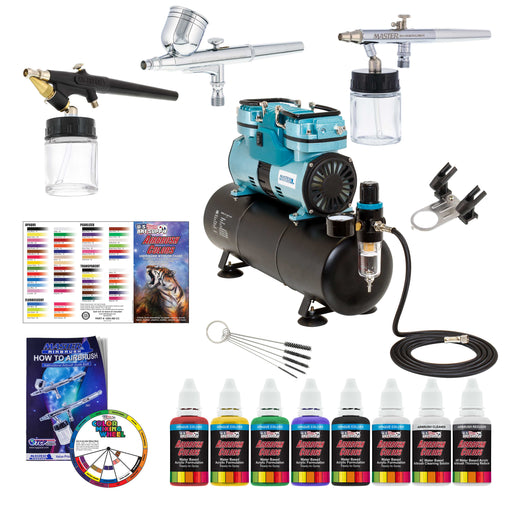 Airbrushing System with 3 Airbrushes, 6 Primary Colors Acrylic Paint Set - Cool Running 1/4 hp Twin Cylinder Piston Air Compressor with Storage Tank