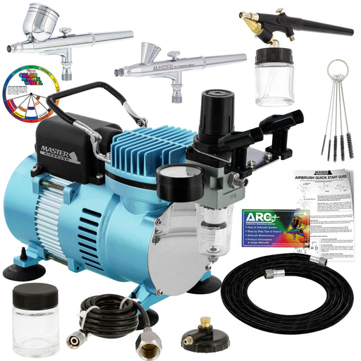 Cool Runner II Dual Fan Air Compressor Airbrushing System Kit with 3 Airbrushes, Gravity and Siphon Feed - Holder, Color Mixing Wheel, How-To Guide
