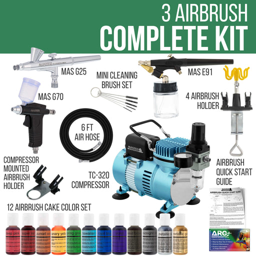 Cool Runner II Dual Fan Air Compressor Pro Cake Decorating System Kit with 3 Airbrushes, 12 Color Food Coloring Set - How-To Guide