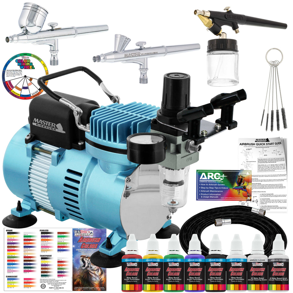 Cool Runner II Dual Fan Air Compressor Airbrushing System with 3 Airbrushes - 6 Primary Opaque Colors Acrylic Paint - How To Guide