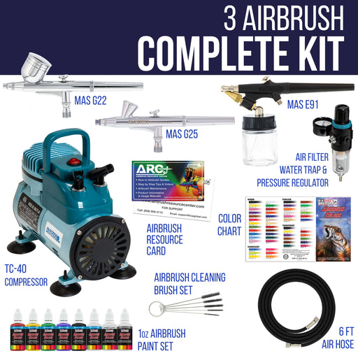 3 Airbrush Professional Acrylic Paint Airbrushing System Kit with Powerful Cool Running Air Compressor - 6 Primary Opaque Paint Colors Set