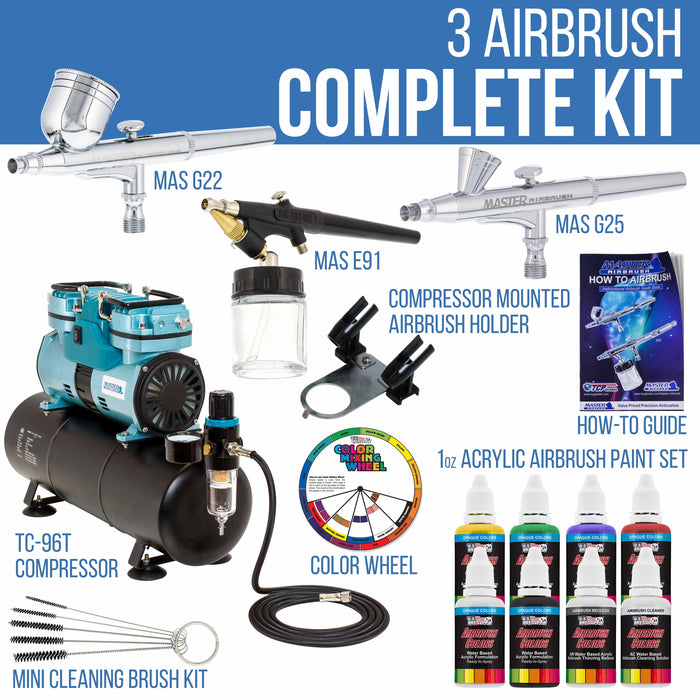 Gravity and Siphon Feed 3 Airbrushing System with 6 Primary Colors Acrylic Paint Set - Cool Running 1/4 hp Twin-Piston Air Compressor, Storage Tank