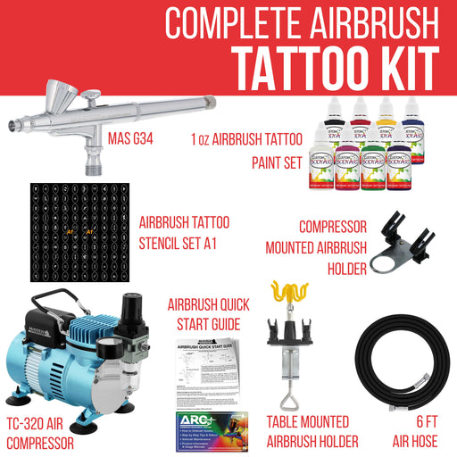 Custom Body Art System Kit with Cool Runner II Dual Fan Air Compressor, Gravity Airbrush, 8 Color Temp Tattoo Paint Set, 100 Stencils, How To Guide